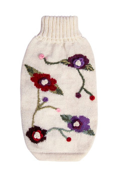 Alpaca Dog Sweater - Embroidered Flower