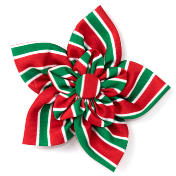 Holiday Stripe Pet Dog Collar Flower