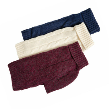 Cashmere Dog Sweater - Navy, Burgundy, Winter White