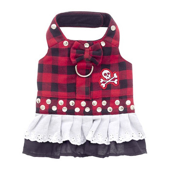 Red Buffalo Plaid Biker Bow Dog Dress