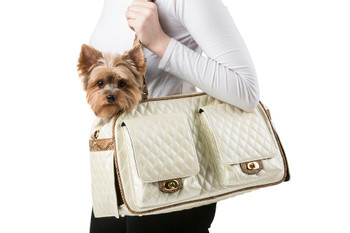 Marlee Pet Dog Carrier - Ivory Quilted With Snake by Petote