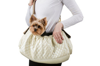Gigi Sling - Ivory Quilted Pet Dog Carrier