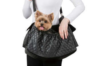 Gigi Sling - Black Quilted Pet Dog Carrier