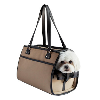 The Payton Pet Dog Carrier - Khaki - Black Trim