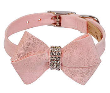 Pink Glitzerati Nouveau Bow Dog Collar