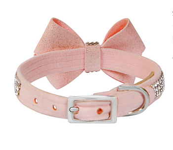 Pink Glitzerati Nouveau Bow 3 Row Giltmore Dog Collar