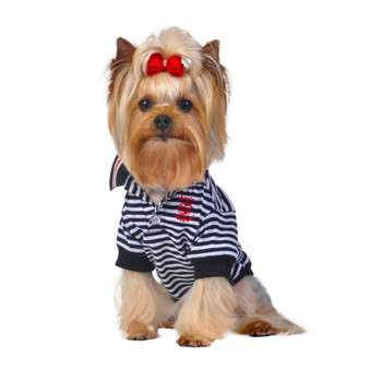 Black/White Stripe Polo Dog Shirt