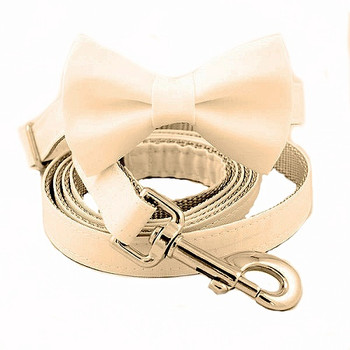 Off White Bow Tie Dog Collar