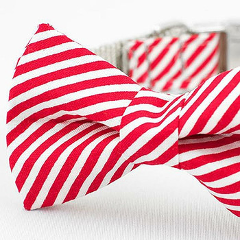 Peppermint Stripe Bow Tie Dog Collar