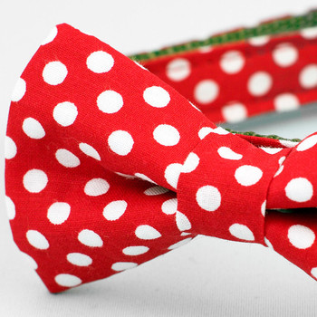 Red & White Polka Dot Bow Tie Dog Collar