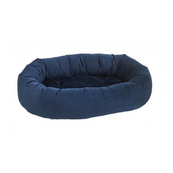 Navy Blue Microvelvet Donut Pet Dog Bed