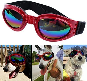 Dog Sunglasses Eye Wear Protection Waterproof Pet Goggles - Red