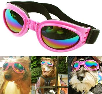 Dog Sunglasses Eye Wear Protection Waterproof Pet Goggles - Pink