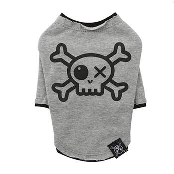 Puppy Angel Pirate Long Layered Sleeve Dog T-shirts - Gray