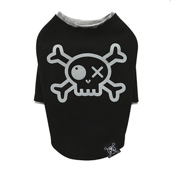 Puppy Angel Pirate Long Layered Sleeve Dog T-shirts - Black