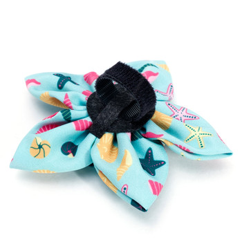 Seashells Teal Pet Dog Collar Flower