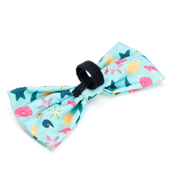Seashells Teal Pet Dog Bow Tie