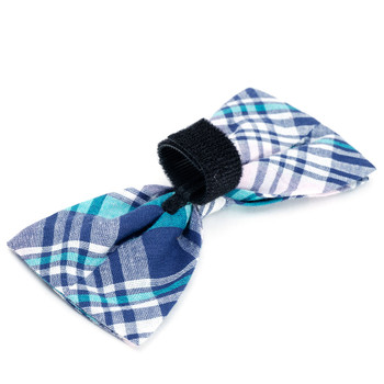 Madras Plaid Navy/Pink/Turq Pet Dog Bow Tie