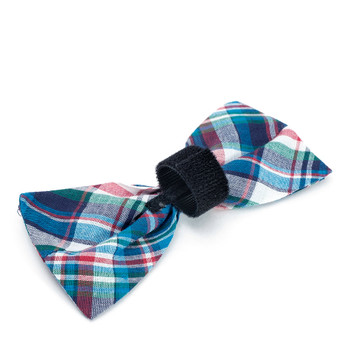 Madras Plaid Blue/Navy/Multi Pet Dog Bow Tie