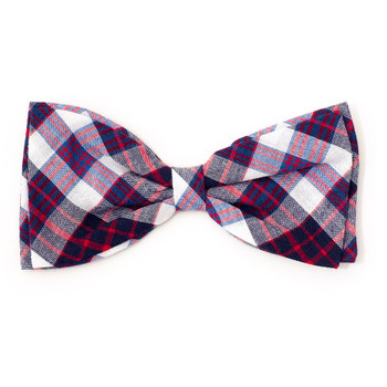 Madras Plaid Navy/Red/White Pet Dog Bow Tie