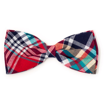 Madras Plaid Red/Navy/Multi Pet Dog Bow Tie