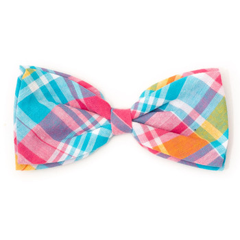 Madras Plaid Turquoise/Pink/Multi Pet Dog Bow Tie