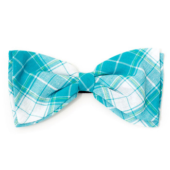 Madras Plaid Turquoise/White Pet Dog Bow Tie