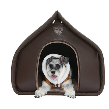 Puppy Angel Kisses House Dog Bed - Brown
