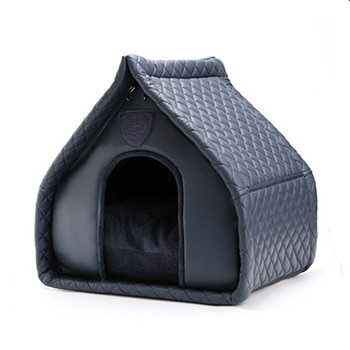Puppy Angel Kisses House Dog Bed - Navy Blue