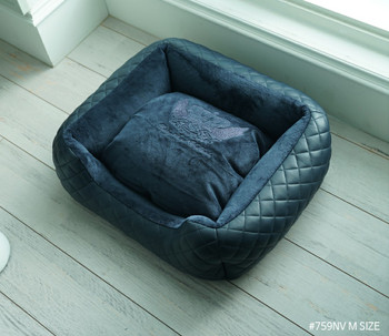 Puppy Angel LOVE Luxury Quilted Cushion Dog Bed - Navy Blue