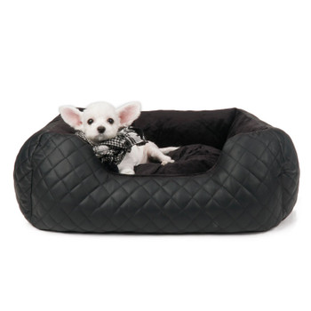 Puppy Angel LOVE Luxury Quilted Cushion Dog Bed - Black