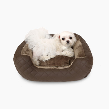 Puppy Angel LOVE Luxury Quilted Cushion Dog Bed - Brown