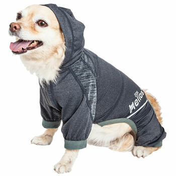 Helios 'Namastail' Lightweight Full Bodied Dog Tracksuit - Charcoal Black