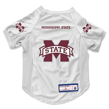Mississippi State Bulldogs White Pet Stretch Jersey