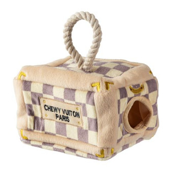 Checker Chewy Vuiton Trunk Activity House Dog Toy