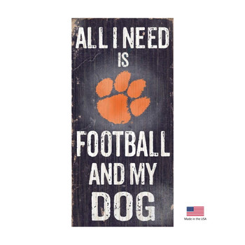 Clemson Tigers Distressed Football And My Dog Sign