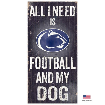 Penn State Distressed Football And My Dog Sign