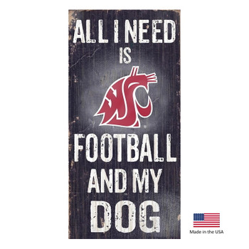 Washington State Cougars Distressed Football And My Dog Sign