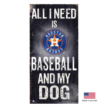 Houston Astros Distressed Baseball And My Dog Sign
