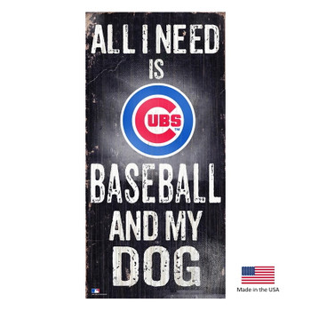 Chicago Cubs Distressed Baseball And My Dog Sign