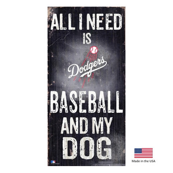 Los Angeles Dodgers Distressed Baseball And My Dog Sign