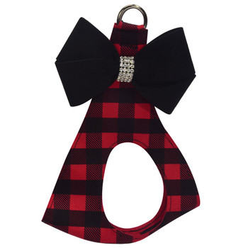 Red Gingham Black Nouveau Bow Step In Harness - Custom