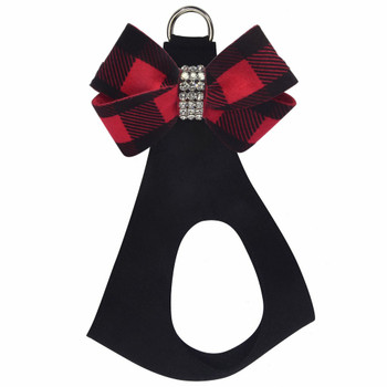 Red Gingham Nouveau Bow Step In Harness - Custom