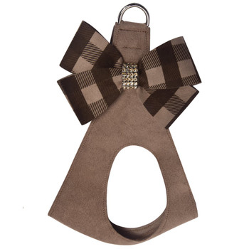 Fawn Gingham Nouveau Bow Step In Harness - Custom