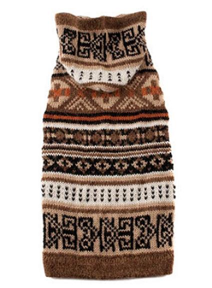 Alpaca Dog Sweater - Incan Style w/ Hood