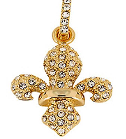 Fleur de Lis Crystal Pendant - Golden