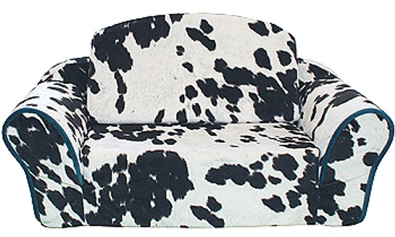 Cowprint Pull Out Dog Sleeper Sofa - Turquoise by Pet Flys