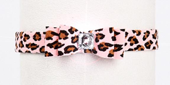Pink Cheetah Big Bow Dog Collars