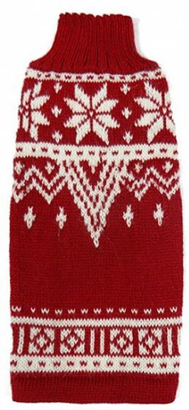 Alpaca Dog Sweater - Red & White Snowflake