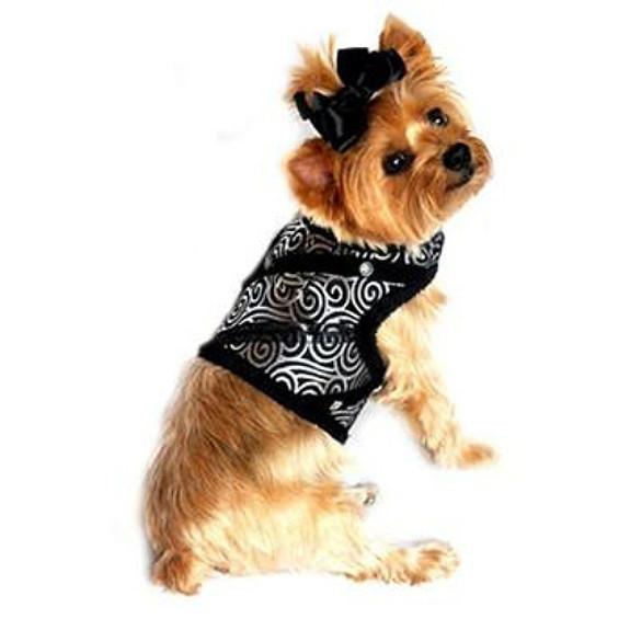 Black & Silver Brocade Minky Plush Dog Harness